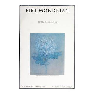 Mid Century Modern Framed Mondrian Centennial Guggenheim Museum Poster 1971 For Sale