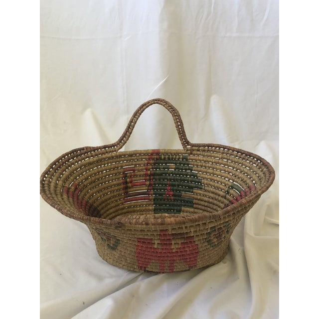 Pink Vintage Handwoven Oval Basket With Handles For Sale - Image 8 of 8
