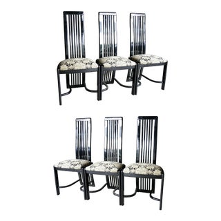 1980s Contemporary Pietro Constantini Black Lacquered Chairs, Set of 6 For Sale