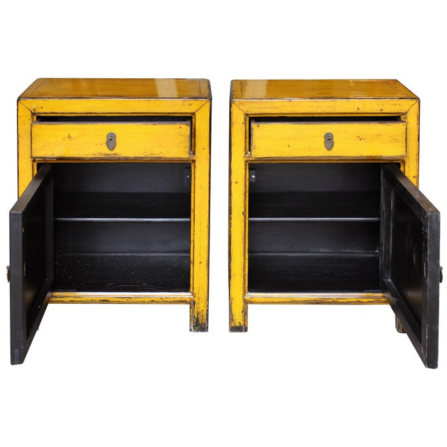 Yellow Side Chests - Pair - Image 3 of 6