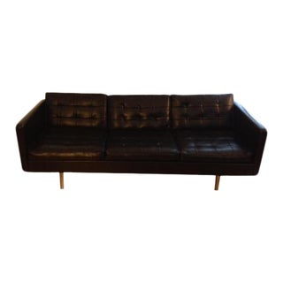 Vintage Original Milo Baughman Black Vinyl 3 Cushion Sofa