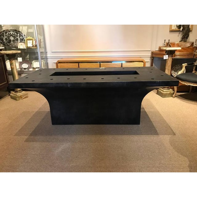 "Animal Skin Stunning Goatskin ""Shagreen"" Lacquered Dining Table For Sale - Image 7 of 8"