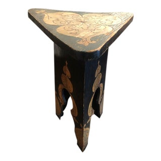 European Carved Wood Triangle Top Side Table For Sale