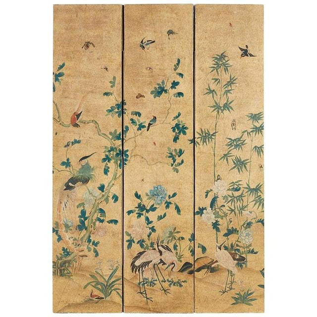 Continental Painted Chinoiserie Wallpaper Screen With Decoupage For Sale - Image 13 of 13