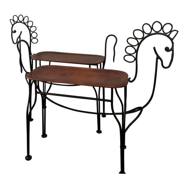 1980s Vintage Leather and Iron Handmade Sculptural Horse Stools- A Pair For Sale