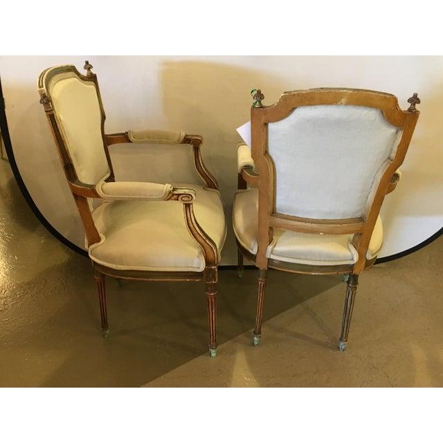 Maison Jansen Maison Jansen Distressed Louis XVI Style Armchairs - A Pair For Sale - Image 4 of 6