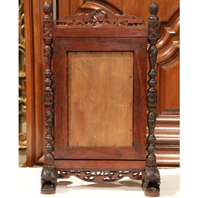 Brass 19th Century French Carved Black Forest Free Standing Beveled Glass Mirror For Sale - Image 7 of 7