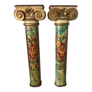 A Pair of Decorative Antique Hand Painted and Gilt Columns With Impressive Top Capitols. For Sale
