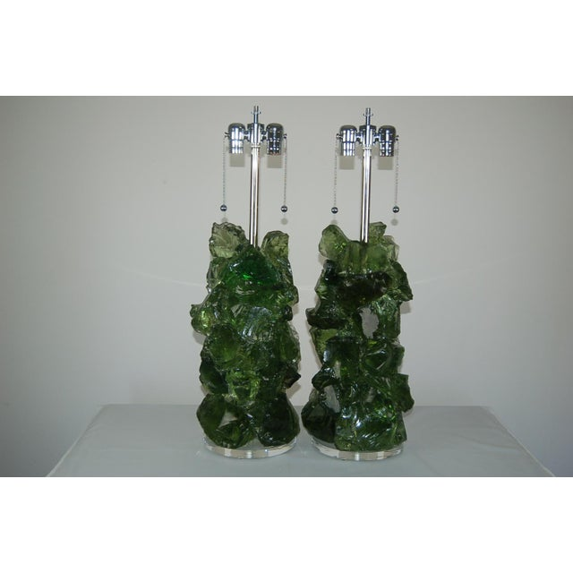 Abstract Glass Rock Table Lamps by Swank Lighting Green For Sale - Image 3 of 11
