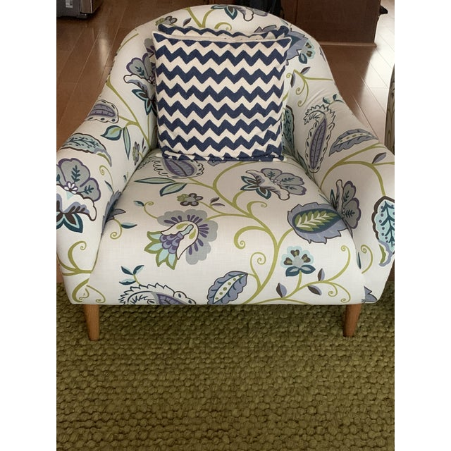 Contemporary Modern Floral Accent Chairs - A Pair For Sale - Image 3 of 5