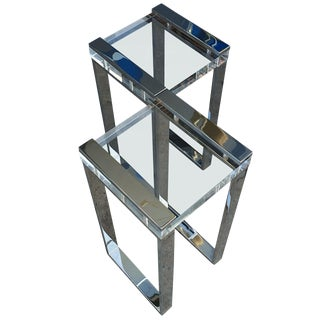 """Pair of Charles Hollis Jones """"Box"""" Line Side Tables in Lucite and Nickel For Sale"""