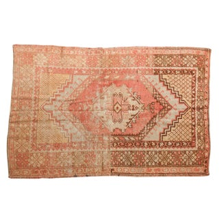 "Vintage Distressed Oushak Rug - 3'7"" X 5'6"" For Sale"