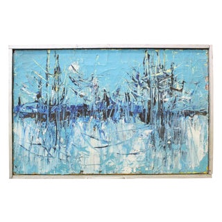 """Vintage Mid-Century """"Winter Woodlands"""" Abstract Oil Painting For Sale"""