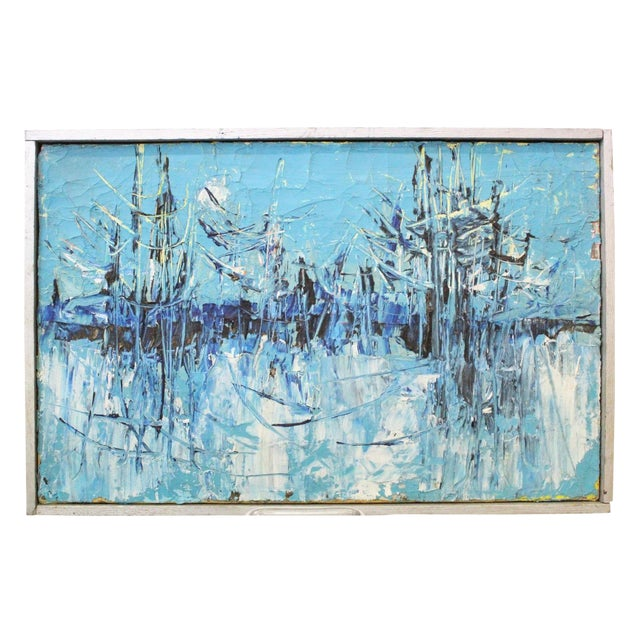 "Image of Vintage Mid-Century ""Winter Woodlands"" Abstract Oil Painting"
