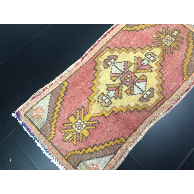Rustic Faded Turkish Antique Handmade Small Rug, Door Mat Rug For Sale - Image 3 of 6