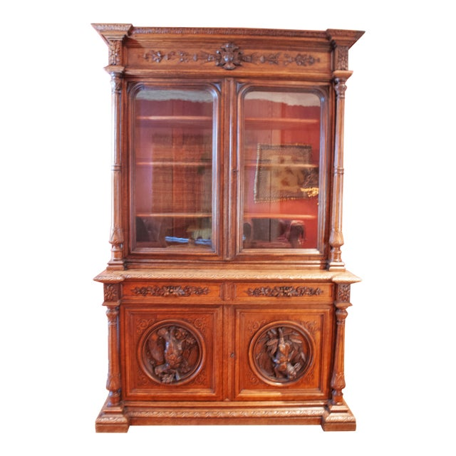 Carved French Oak Cabinet For Sale