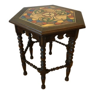 20th Century Traditional Wooden Side Table With Painted Stone Top For Sale