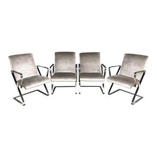 Set of Four Italian Chrome Springer Style Chairs in Silk Velvet