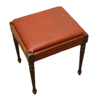 1960s Vintage Leather Piano Bench For Sale