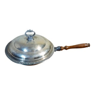 1930s Vintage Silverplate Chafing Pan With Wooden Handle For Sale