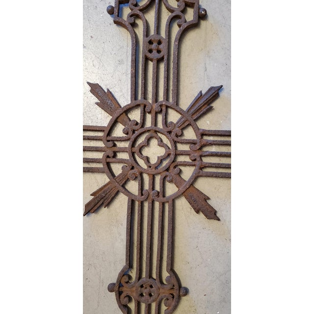 French French Vineyard Hand Wrought Cross With Angels For Sale - Image 3 of 6