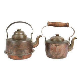 Antique Copper Kettles - A Pair For Sale
