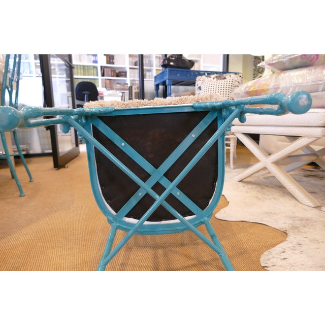 Modern Teal Wrought Iron Outdoor Chair For Sale - Image 10 of 13