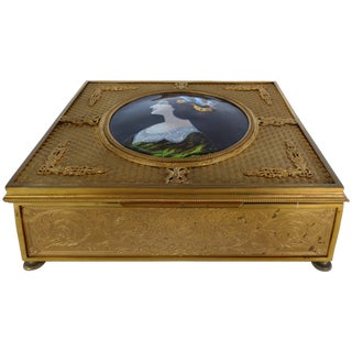 19th Century European Gilt Bronze Dresser Box With Enamel Plaque For Sale