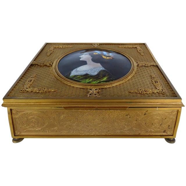 19th Century European Gilt Bronze Dresser Box With Enamel Plaque For Sale