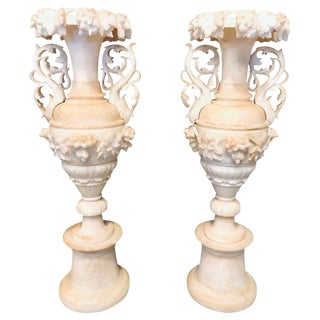 19th Century Neoclassical Alabaster Three-Piece Urns or Vases - a Pair For Sale