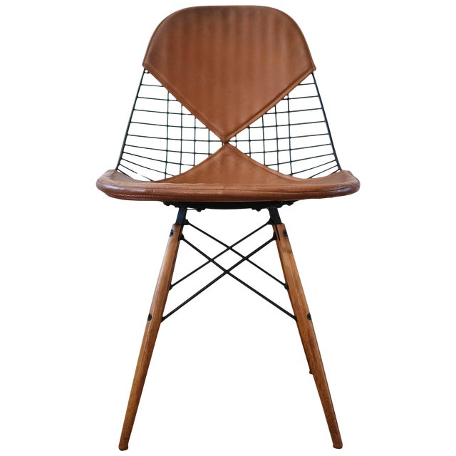 Eames Dkw-2 Dowel Wire Chair With Leather Bikini Cover For Sale