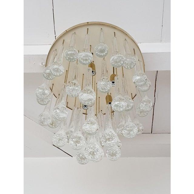 2010s Mid Century Modern Brass & Murano Glass Drops Flush Mount Ceiling Light, Customizable For Sale - Image 5 of 13