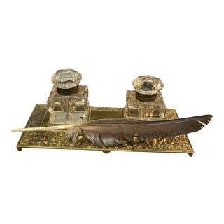 Brass Ink Stand With Feather For Sale