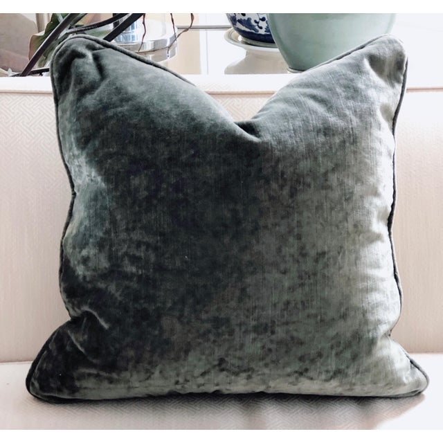 Hand Pieced Grey and Yellow Diagonal Stripe Down Throw Pillow For Sale - Image 4 of 6