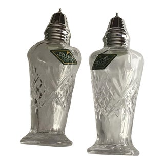 Hand Crafted Shannon Crystal Cut Glass Salt and Shakers For Sale