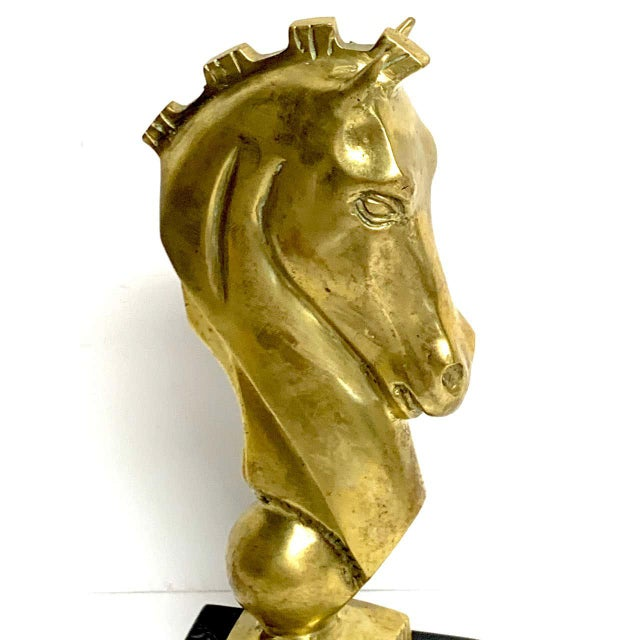 Bronze Midcentury Bronze and Marble Horse Motif Bookends - a Pair For Sale - Image 8 of 10