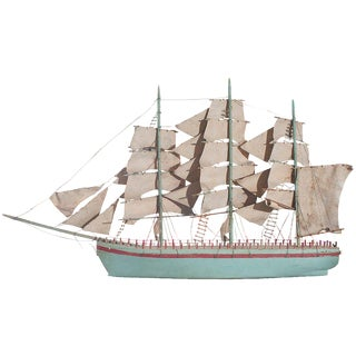Blue Painted Model of a Sail Boat For Sale