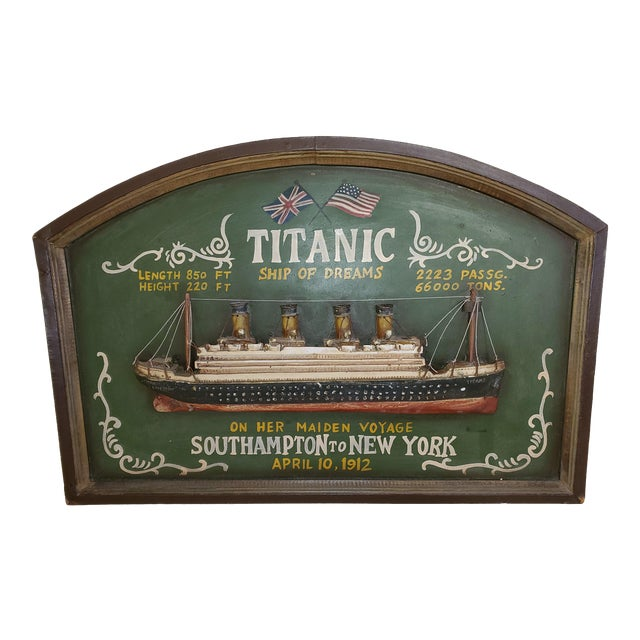 """Original Early 20th Century Mixed Media Art """"Remember the Titanic"""" For Sale"""