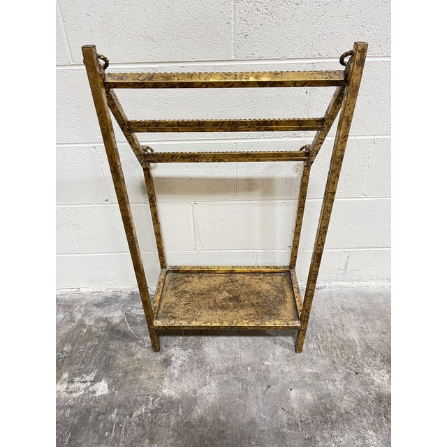 Hollywood Regency Gold Leaf Hollywood Regency Iron Towel Rack For Sale - Image 3 of 10