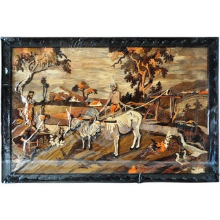 """Large (72""""x48"""") Wood Carved and Inlaid Artwork From India Depicting Farming Scenery For Sale"""