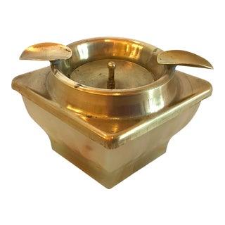 Art Deco Brass Top Slag Glass Bottom Ashtray For Sale
