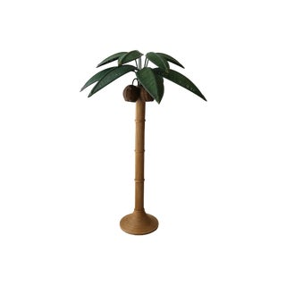 Vintage Wicker Rattan Palm Tree Floor Lamp by Mario Lopez Torres For Sale