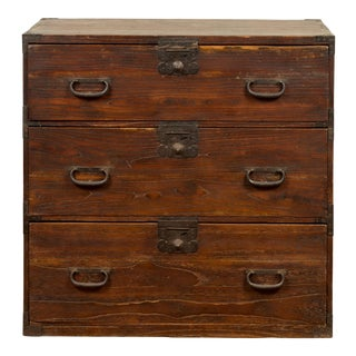 Japanese Meiji Period 19th Century Keyaki Wood Tansu Three-Drawer Clothing Chest For Sale