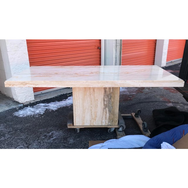 1970s Italian Long Travertine Dining Table For Sale - Image 13 of 13