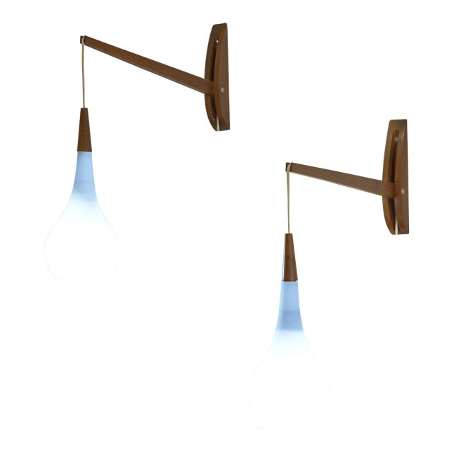 1950s Vintage Mid-Century Modern Adjustable Wall Sconces - a Pair For Sale