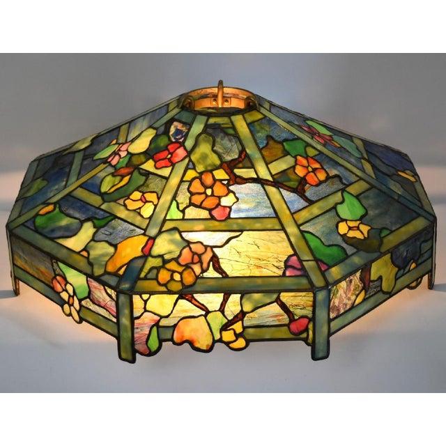 "Tiffany ""Flowering Trellis"" Glass & Bronze Pendant - Image 3 of 8"