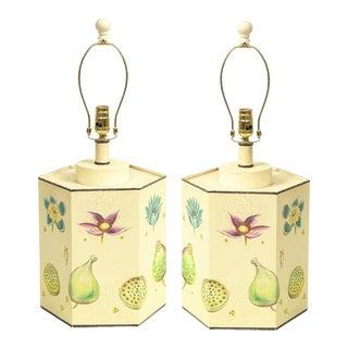 Pair of Tôle Peinte Botanical Table Lamps For Sale