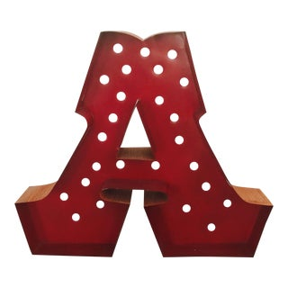 1900s Vintage Channel Style Letter A Sign For Sale