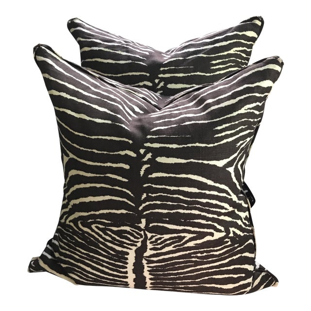 Brunschwig & Fils Le Zebra Pillows- Pair - Image 1 of 7