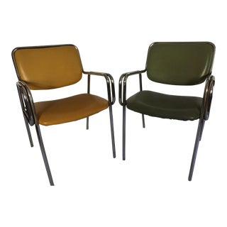 1970s Vintage Modern Global Upholstery Company, Ltd Tubular Chrome Occasional Arm Chairs- a Pair For Sale